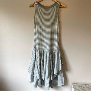 Ralph Lauren blue white stripes drop waist dress S